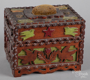 Painted tramp art sewing box, late 19th c.