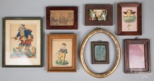 Group of small frames and framed items, etc.