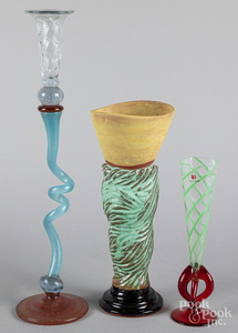 Three art glass vases