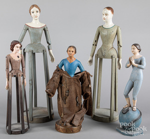 Five carved and painted Santos figures, 20th c.