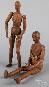 Two jointed wood artists' mannequins, 19th c.