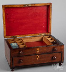 Mahogany inlaid sewing box, 19th c.