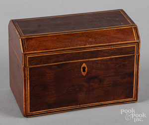 Georgian mahogany tea caddy, 19th c.