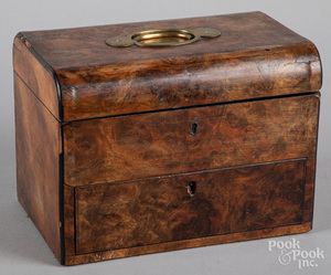 Georgian burl dresser box, 19th c.