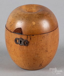 George III fruitwood apple tea caddy, 19th c.