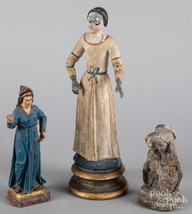 Two carved and painted Santos figures, 19th c.