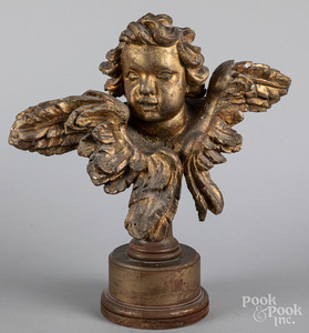 Carved and gilt cherub, 19th c.