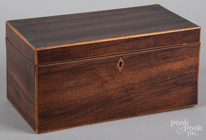 Rosewood tea caddy, 19th c.