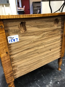 Bench made tiger maple doll dresser and end table