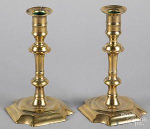 Pair of Queen Anne brass candlesticks