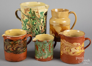 Five French redware pitchers