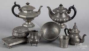 Pewter tablewares, 19th c.