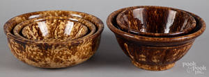 Five Rockingham glaze bowls