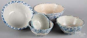 Five blue spongeware bowls