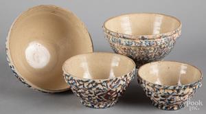Nest of four spongeware bowls
