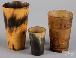 Three horn cups, 19th c.