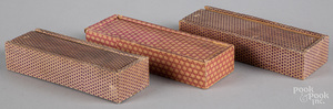 Three paper covered slide lid boxes, 19th c.