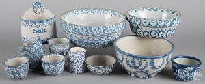 Twelve pieces blue and white spongeware