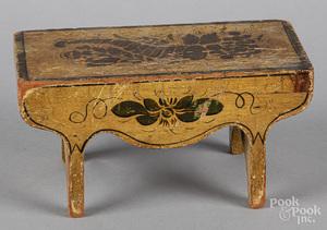 Miniature New England painted pine stool
