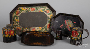 Six pieces of toleware, 19th c.