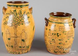 Two pieces Joel B. Leh redware pottery