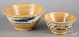 Two yellowware mocha bowls, 19th c.