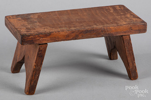 Small tiger maple stool, 19th c.