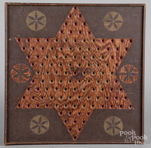Painted plywood Chinese checkers game board