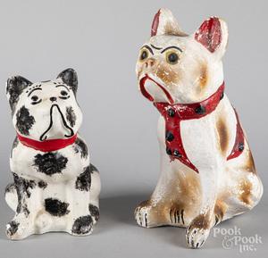 Two chalkware bulldogs