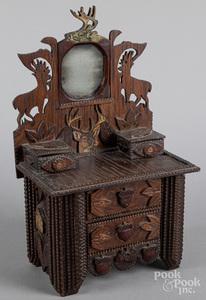 Tramp art doll dresser, ca. 1900