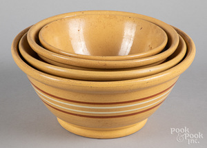 Nest of four yellowware bowls, 19th c.