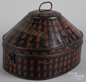 Painted tin hat box, 19th c.