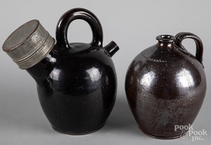 Redware harvest jug and ovoid jug, 19th c.
