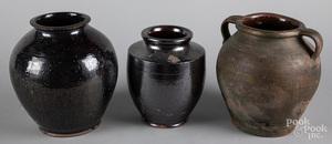Three redware crocks, 19th c., tallest - 9 3/4