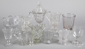 Group of colorless glass tablewares