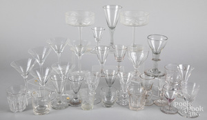 Collection of colorless glass stemware