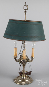 French brass four-arm bouillotte lamp, 19th c.