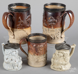 Three English saltgalze mugs