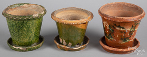 Three Pennsylvania redware flowerpots
