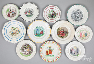 Eleven Staffordshire ABC plates