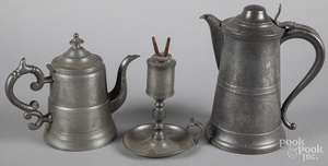 Roswell Gleason pewter flagon, etc.