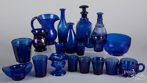 Collection of cobalt glass