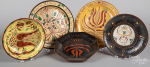 Four Seagreaves redware chargers