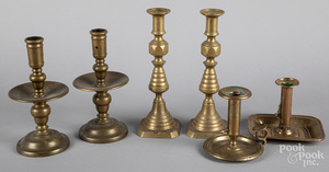 Six brass candlesticks