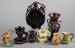 Assorted redware and pottery