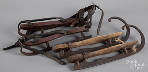 Two pairs of early ice skates
