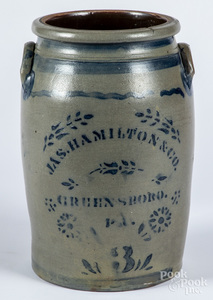 Western Pennsylvania three gallon stoneware crock