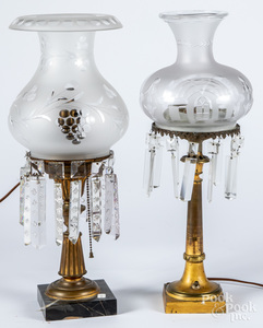 Two Astral table lamps, with etched globes, 19