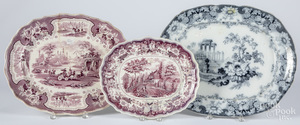 Three Staffordshire platters, etc.