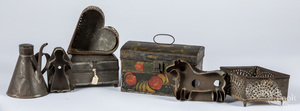 Toleware box, two cheese strainers, etc.